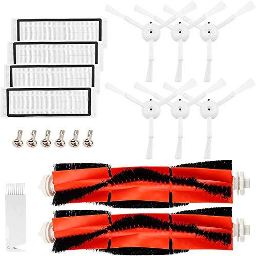 Topteam 19 Piezas Accesorios Compatible con Robot Aspirador MI, Xiaomi, Mijia Accesorios Roborock S50 S51, 2 Cepillo Principal +6 Cepillo Lateral+1 Auxiliar de Limpieza+4 Filtros HEPA+6 Tornil
