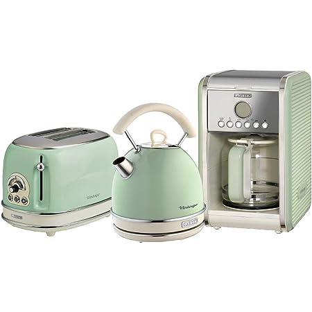 Vintage Design Green Ariete ARPK2 Retro Style Jug Kettle and 2 Slice Toaster Set