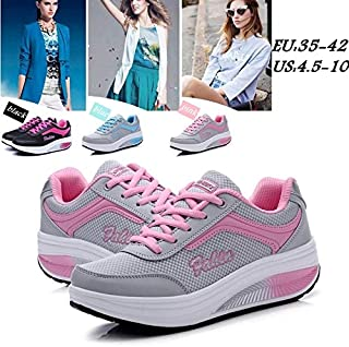 Plus Size Women Sports Shoes Breathable Mesh Shoes Wedges Thick Bottom Shake Shoes Increase Casual Sneakers Damenschuhe Chaussures De Sport Zapatillas Mujer(Blue,38)