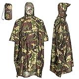 AWHA Regenponcho Camouflage/Unisex – der extra Lange Regenschutz mit Reißverschluss und...