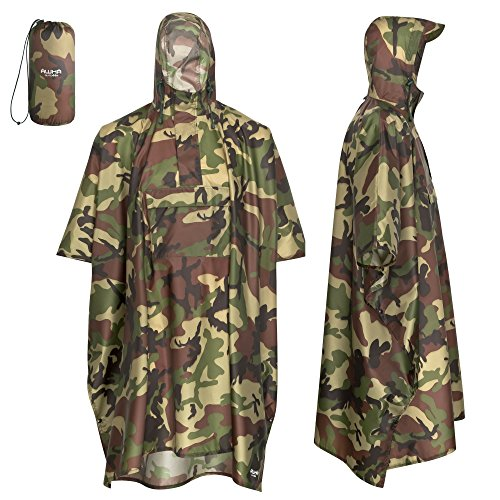 AWHA Regenponcho Damen und Herren wasserdicht und extra lang zum Wandern, Reiten, Fahrrad fahren - Outdoor Regenschutz wiederverwendbar mit Tasche, camouflage, L/XL