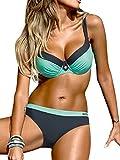 UMIPUBO Mujer Bikini Push-Up Acolchado Bra Trajes de Baño Tops y Braguitas Bikini Sets (ES 42, Estilo1:Azul)