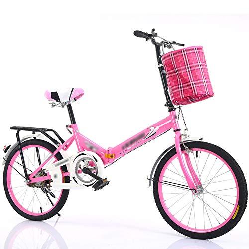 YSHCA Vouwfiets, 16 inch, koolstofstalen frame, fiets, vouwfiets met standaard bagagedrager en mand campingfiets, citybike