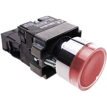 Pulsador moment/áneo 22mm 1NO 400V 10A normal abierto con luz LED verde BeMatik