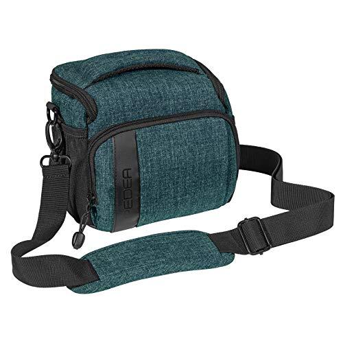 PEDEA DSLR-Kameratasche Fashion Fototasche für Spiegelreflexkameras mit wasserdichtem Regenschutz, Tragegurt und Zubehörfächern (Größe L, Petrol)