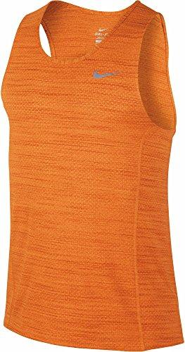 NIKE Dri-Fit Cool Miler Singlet Camiseta sin Mangas, Hombre, Naranja (Vivid Orange/Reflective Silv), XL