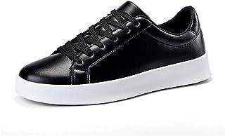 [CHENJUAN] 靴メンズウォーキングシューズカジュアルPUレザー通気性スニーカースケートシューズフラットロートップ滑り止めラウンドトゥレースアップ