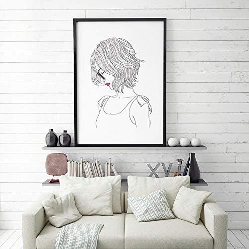 Mode, vrouwen, schets, tekening, nordic, stijl, rood, lippenstift, afdrukken, canvas, schilderij, kunst aan de muur, woondecoratie, zwart metaal, e, 50x75cm, geen frame