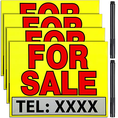 4 Pieces 11 x 14 Inch FOR SALE Stickers Sign with 2 Pieces Black Marker Pen and 40 Pieces Transparent Double-Sided Tapes for Cars, Trucks, Garage, Business Sale Sticker Sign Kit