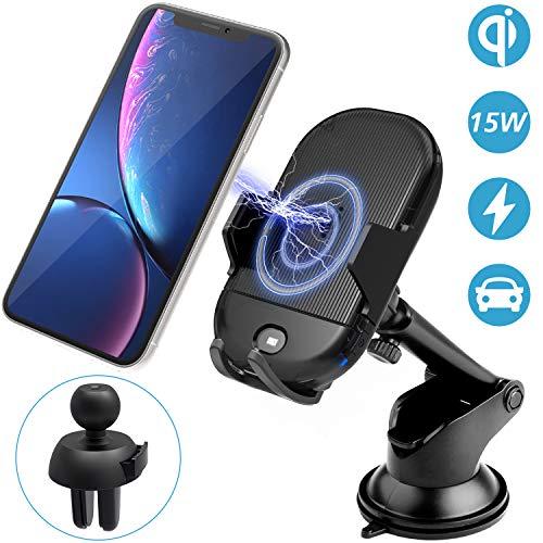 Gvoo - Caricatore senza fili per auto, 15 W, ricarica rapida Qi intelligente a induzione con il supporto per iPhone8/8plus/X/XS/XR Samsung S9/S9Plus/S8/S8Plus e altri dispositivi compatibili con Qi