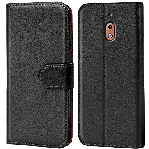 Conie Handyhülle für Nokia 2.1 Hülle, Premium PU Leder Flip Hülle Booklet Cover Weiches Innenfutter für 2.1 Tasche, Schwarz