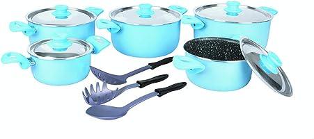 طقم حلل جرانيت بغطاء ستانلس ستيل لمجموعة بوب مع ادوات طهي من جراندي كوك، 13 قطعة - لبني بيبي بلو
