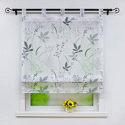 Joyswahl Voile Raffrollo mit floraler Musterung transparente Raffgardine mit Schlaufen »Therese« Schals Fenster Gardine BxH 80x140cm 1 Stück