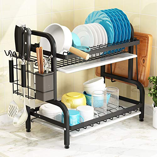 Dish Drying Rack 1Easylife 2Tier Compact Kitchen Dish Rack Drainboard Set Large RustProof Dish Drainer with Utensil Holder Cutting Board Holder for Kitchen Counter Tableware Organizer Space Saver