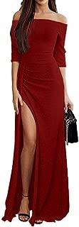 Ulanda-Dress Ulanda Womens Cocktail Maxi Dress Off Ruched Knit High Slit Evening Party Cocktail Dress