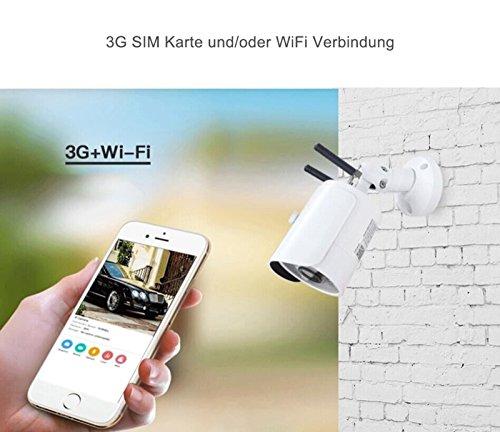 3G GPRS GSM HD Überwachungskamera für W-LAN & 3G WiFi IP Kamera für Überwachung für Mobilfunk SIM Karte für Innen Aussen Wasserdicht Outdoor Pferde Stall Überwachung 30 Tage kostenlose Cloud