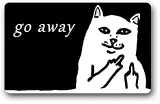 Burning Love Short Plush Material Angry White Cat Go Away Printed Doormat, Non-Slip Doormats, Size40X60CM.