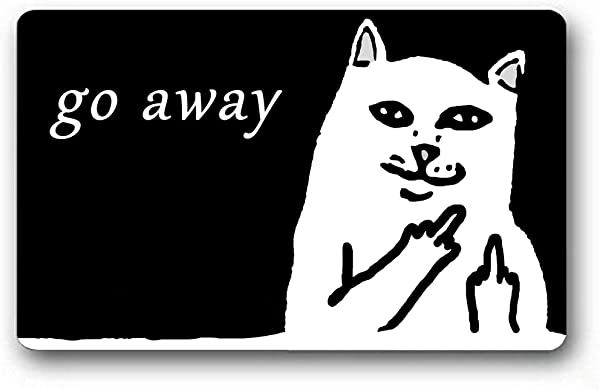Burning Love Short Plush Material Angry White Cat Go Away Printed Doormat Non Slip Doormats Size40X60CM