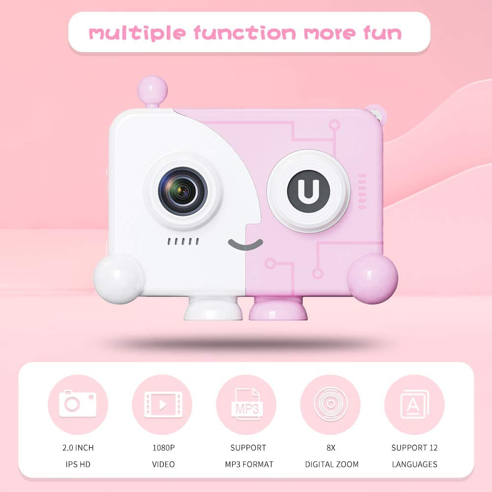 Kids Digital Camera Toys Pink Toddler Gifts for 3-10 Years Old Children with high Resolution IPS Color Screen Camcorder 1080P Video 40M Picture
