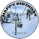 AK Giftshop Decoración para tarta de cumpleaños personalizable para esquiar, redonda, 20 cm, cualquier edad y nombre