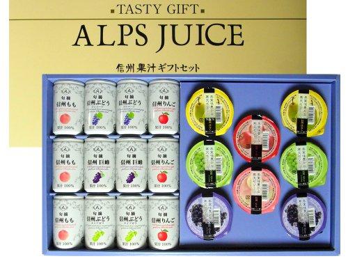 アルプス 信州果汁ギフト 旬摘 果汁100%ジュース×12缶 果実豊かな 寒天ゼリー×8個 詰め合わせ ギフトセット