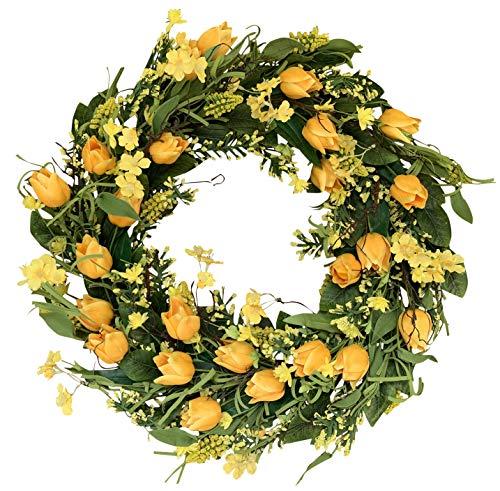 The Wreath Depot Wyndale Tulip Door Wreath 22 Inch, Beautiful White Storage Gift Box