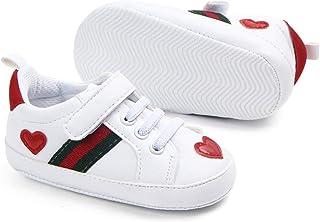 3d62408ec8acb Nagodu Shoes Zapato Tipo Tenis para Bebe niñas Blancos con Cintas y Velcro  y 2 Hermosos