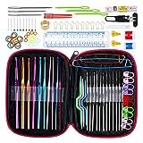 Hieefi Crochet Hooks Conjunto, Herramientas De Tejer Agujas De Tejer Accesorios De Bricolaje Aguja De Coser con Artesanía Artes Negro Caso
