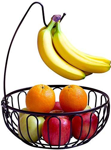 AYMAZE Fruit Bowl with Removable Banana Hanger, Black
