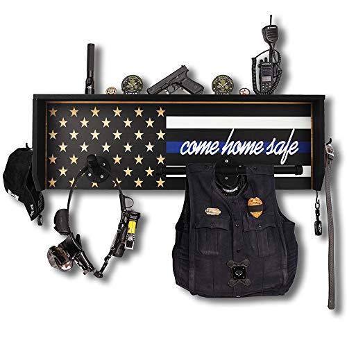 Duty gear rack with police flag