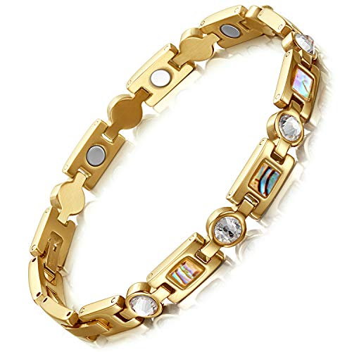 RainSo Titanium Steel Rhinestone Health Golf Magnetic Therapy Bracelets for Women with 3 Smart Buckle (Gold)