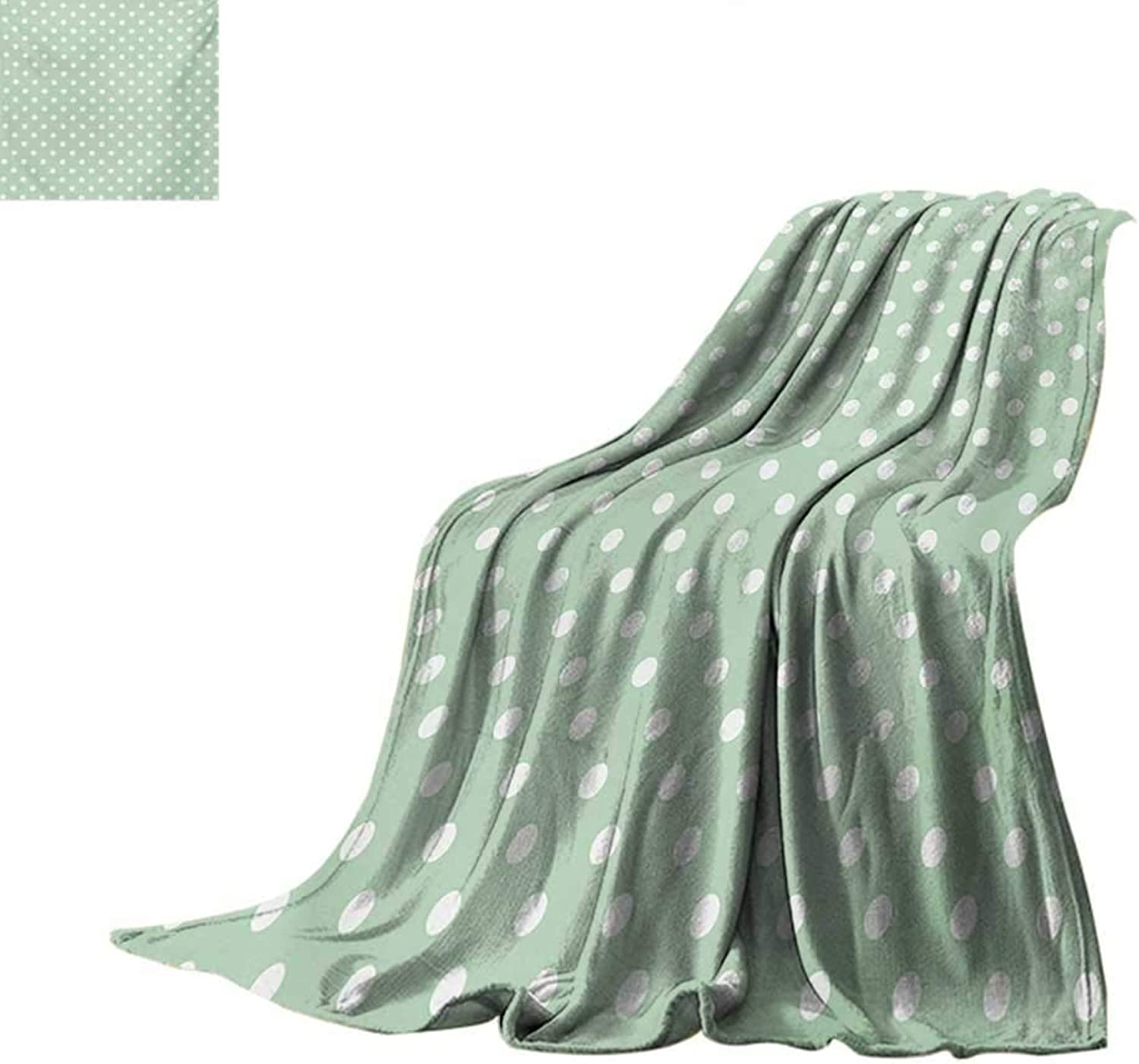MintFlannel Single Student blanketClassical Old Fashioned Polka Dots Pattern on Pale Green Fresh BackgroundStudent Blanket 50 x30  Mint Green and White