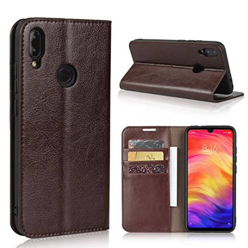 Copmob Hülle Xiaomi Redmi Note 7/Redmi Note 7 Pro,Premium Flip Brieftasche Leder Schutzhülle,[3 Kartensteckplätze][Bracket-Funktion],Ledertasche Handyhülle für Redmi Note 7/Note 7 Pro - Dunkelbraun