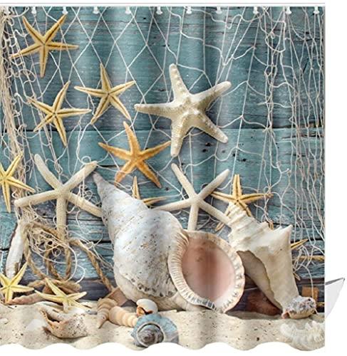 ABxinyoule Beach Shower Curtain Seashell Beach Theme Starfish Shell Waterproof Fabric Bathroom…
