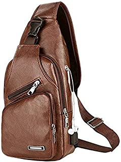 Men's Leather Sling Bag,Chest Shoulder Backpack, Water waterproof Crossbody Bag with USB Charging Port for Travel, Hiking,...