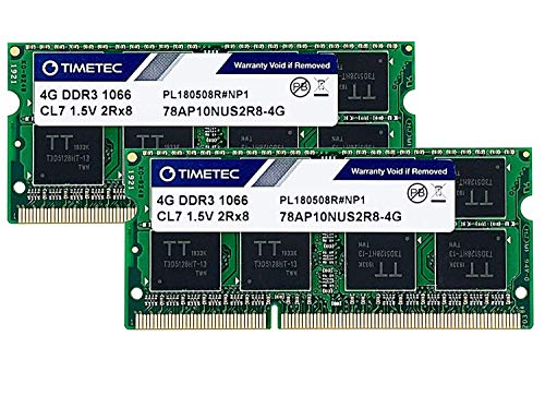 Timetec Hynix IC 8GB Kit (2x4GB) DDR3 1066MHz PC3-8500 Unbuffered Non-ECC 1.5V CL7 2Rx8 Dual Rank 204 Pin SODIMM Memory RAM Module Upgrade (8GB Kit (2x4GB))