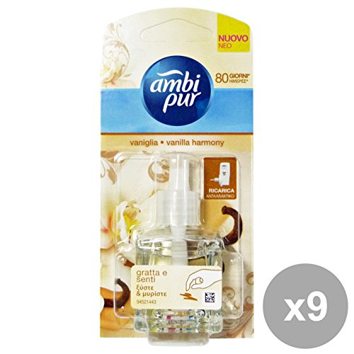 Set 9 AMBI-PUR Casa Ricarica HARMONY VANIGLIA 20 Ml. Deodorante Candele e Profumatori
