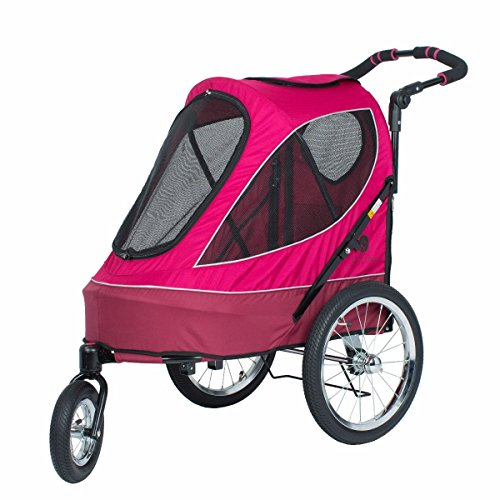 PETIQUE All Terrain Jogger-Blazin' Berry Pet Stroller, Blazin' Berry, One Size (JG01100103)