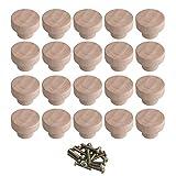 BQLZR Home Accessory 35 x 25 mm Holzfarbe Superba Holz Hardware Runde Knöpfe und Ziehen für Schrank, Schublade, Schuhe, Schrank, Tür, 20 Stück
