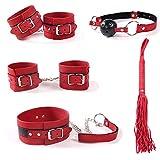 sensensen Conjunto de 5 Piezas de Traje Rojo para Pareja de Primavera y Verano, puños Ajustables, Corbata y Pelota de Juguete (Rojo)
