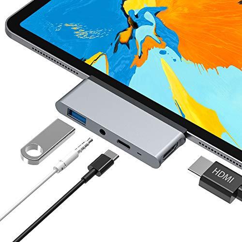 USB C Hub, Aluminium 4 in 1 Typ C auf 4K HDMI Adapter, USB 3.0, 3,5 mm Kopfhörerbuchse, USB C PD, Kompatibel mit iPad Pro 2018 11/13, MacBook/MacBook Pro, Dell XPS, Samsung S8/S9 und Mehr (Grey)
