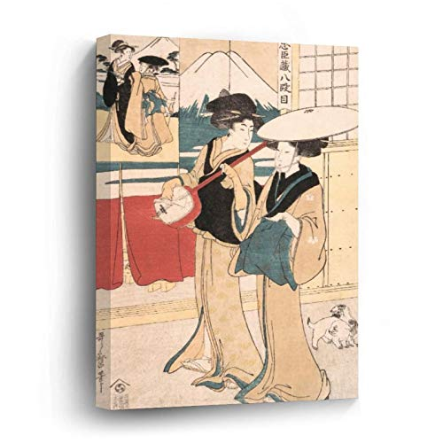 Two Tori Oi, Or Itinerant Women Musicians Japan Canvas Picture Painting Artwork Wall Art Poto Framed Canvas Prints for Bedroom Living Room Home Decoration, Ready to Hanging 8'x8'