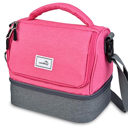 LunchBots Duplex Insulated Lunch Bag - Dual Section Design Fits LunchBots Uno Duo Trio Quad Rounds Bento Cinco Perfectly - Roomy Thermal Lunch Bag for Kids and Adults - Pink
