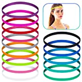 14 Pieces Thin Thick Elastic Sports Headbands Non Slip Grip Reversible Stretchy Yoga Hair Bands Athletic Sweatbands Colorful Skinny Hair Bands for Teens Women Girls Men