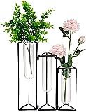 Conjunto de jarrones de flores de tubo de ensayo de vidrio - Jarrón de estilo concertina - pieza central de mesa - sostenedor de jarrón de vidrio transparente para bodas, fiesta,negro,3 Test tube