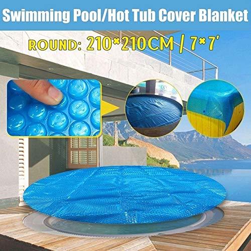 JIUYUE Couverture Piscine Cover 1.8 * 1.8m / 2.1x2.1m / 2.4x2.4m Bain Solaire Couverture extérieure Bubble Blanket Piscine Accessoires Piscine (Color : Round 210x210cm)
