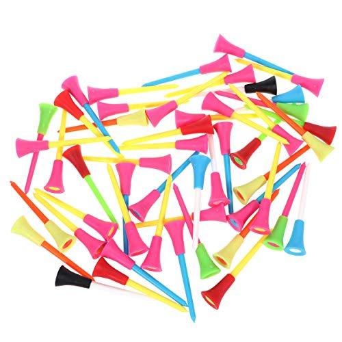 NUOBESTY 50pcs Tees de Golf Accesorios de Entrenamiento Deportivo de Golf plástico Portable tee de Golf Kit (Color al Azar)