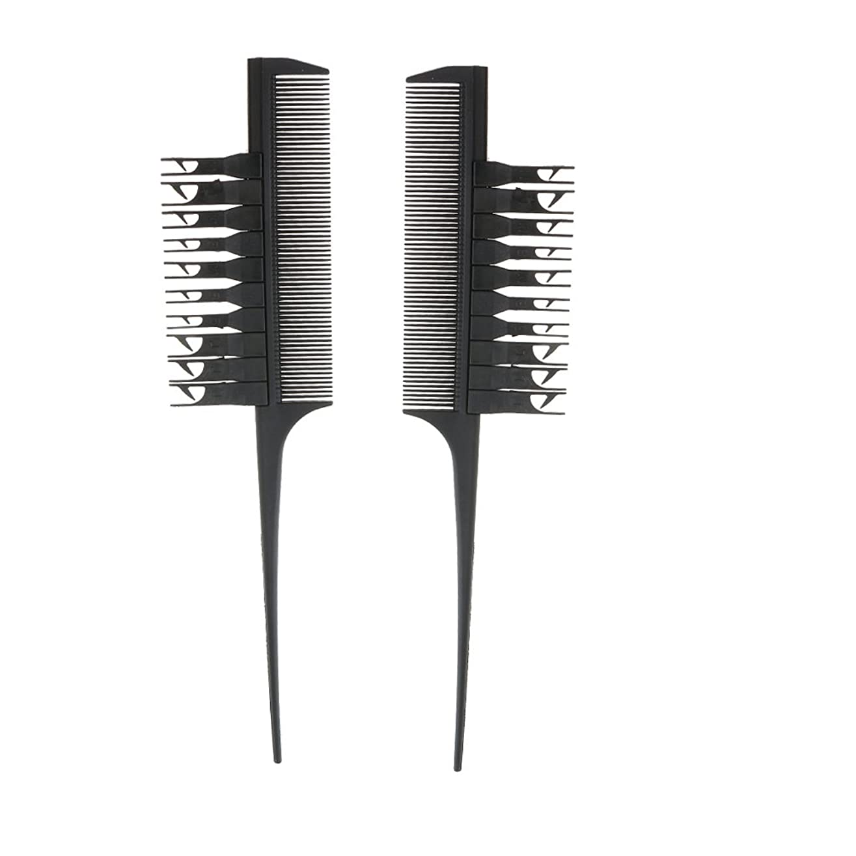修羅場高い歴史的Blesiya 2個入り 実用 高品質 ヘアダイブラシ ヘアカラーリング コーム 櫛(ブラック)