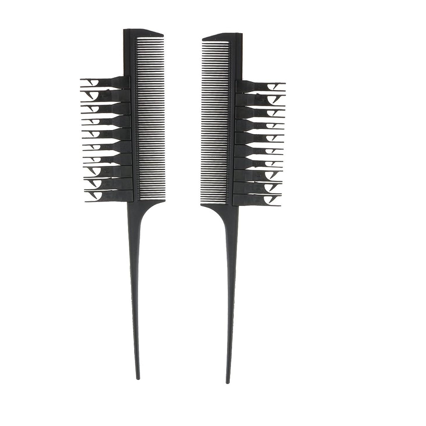 予見する売上高鍔Blesiya 2個入り 実用 高品質 ヘアダイブラシ ヘアカラーリング コーム 櫛(ブラック)