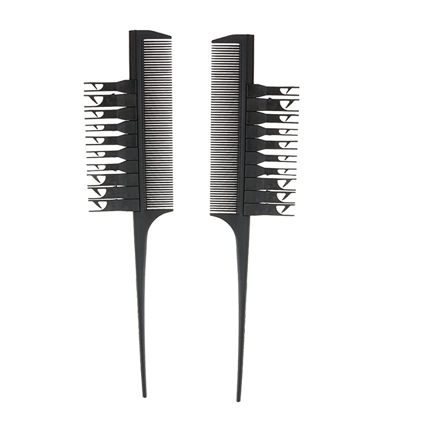 楽しい生活ネックレスBlesiya 2個入り 実用 高品質 ヘアダイブラシ ヘアカラーリング コーム 櫛(ブラック)